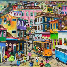 When you visit Rio, you must go to the Feira Hippie in Ipanema. Its a street market open every Sunday with local vendors selling beautiful art pieces, handmade clothing, jewelry, bags and other authentic artifacts. Unfortunately I was not able to get the name of this particular painter, but you will find this style of art throughout Brazil. These artists catch the very essence of Brazil's people, atmosphere and culture in a very colorful and playful way. I love it:)