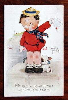 BEATRICE-MALLET-A-S-TUCK-708-BIRTHDAY-POSTCARD-CUTE-KIDDIES-GIRL-DOG-WAVING