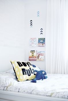 Boy's Room Bed with Clear Book Shelves - love this modern look!