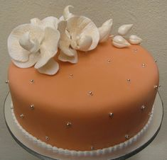 Orange cake with White orchids and silver seed pearls.for inspiration only! Beautiful Cakes, Amazing Cakes, Cake Decorating Courses, Cool Cake Designs, Moth Orchid, Engagement Cakes, Cake Gallery, Cake Pictures, Party Cakes