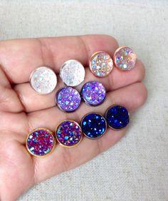 Carina Druzy Stud Sampler 5 pairs Druzy by RawSugarSunday Druzy Jewelry, Resin Jewelry, Handmade Jewelry, Jewellery, Resin Crafts, Resin Art, Bridesmaid Jewelry Sets, Crystal Earrings, Making Ideas