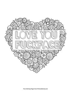 Heart Sweary Coloring Page