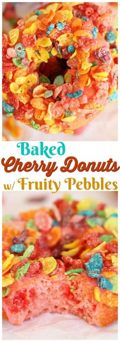 Super easy baked maraschino cherry cake donuts with a simple cherry glaze and crunchy Fruity Pebbles for a topping! These Baked Cherry Donuts with Cherry Glaze are my FAVORITE!