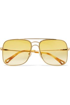 30af0b9be1 A chic retro frame gives life to these Chloé Aviator-style Gold-tone  Sunglasses