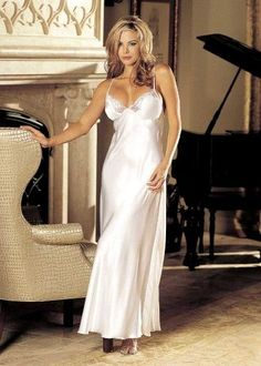 Shirley of Hollywood SOH-20300 Charmeuse and lace long gown. White XL, Women's