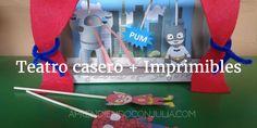 Manualidad para niños + imprimible: Teatro con un caja de cartón. Incluye descargable con 4 escenarios diferentes y personajes.
