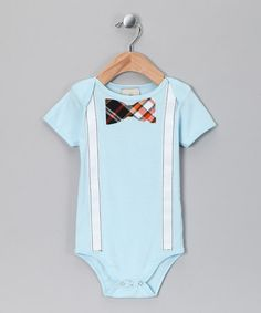 Take a look at this Blue & Orange Plaid Bow Tie Bodysuit - Infant by Million Polkadots on #zulily today!