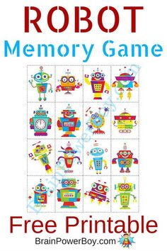 Try this fun Robot memory game. I love free printable games .-Try this fun Robot memory game. I love free printable games for kids and this on… Try this fun Robot memory game. I love free printable games for kids and this one is great. Printable Games For Kids, Memory Games For Kids, Free Printable, Printable Puzzles, Wallpaper Iphone 7 Plus, Robot Theme, Robots For Kids, Matching Games, In Kindergarten