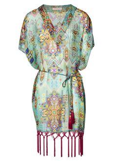 Turquoise Inca Jewel Fringed Silk Kaftan - Beachwear - Matthew Williamson