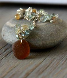 Sea glass and aquamarine stones.  Lariat necklace