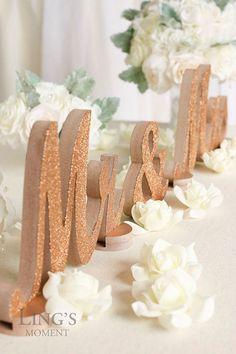 cool Rosa oro Glitter-Mr e Mrs lettere-matrimonio di BlissByLingsMoment...