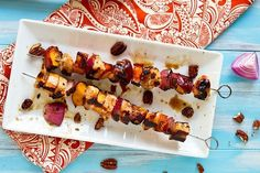 Honey-Glazed Chicken, Peach and Sweet Potatoes Skewers