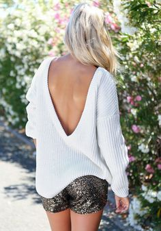 Deep-V Back Sweater