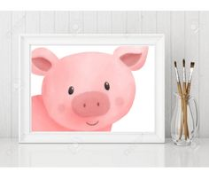 Pig Print adorable pig wall art quality print Nursery New | Etsy #babygift #babyshowergift #babymusthave #giftforbaby #newborngift #bestbabygift #boysigns #girlsigns Room Signs, Nursery Signs, Home Decor Signs, Diy Signs, Painted Wood Signs, Wooden Signs, Make Your Own Sign, New Baby Gifts, Inspirational Signs