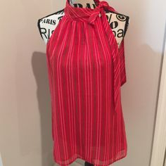 Banana Republic Red Halter Chain Print Blouse Only worn once!  Red halter blouse with chain print and side neck tie.  Great top. Banana Republic Tops Blouses