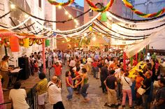 A popular ball in Santo António festivities in Lisbon, Festas de Lisboa, Arrial, Portugal
