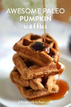 Paleo Pumpkin Recipes that are scrumptious! I love that they are not difficult to make and they're made with Paleo baking ingredients you most likely already have on hand. You will want to Pin this for later! Waffles Paleo, Yummy Waffles, Fluffy Waffles, Paleo Pumpkin Recipes, Paleo Recipes, Whole Food Recipes, Delicious Recipes, Paleo Meals, Yummy Food