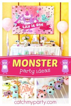Nestology's Birthday / Monsters Inc., Monsters, Boo - Lily's Monster Bash at Catch My Party Boys 1st Birthday Party Ideas, Monster Birthday Parties, 18th Birthday Party, Monster Party, Girl First Birthday, Birthday Party Decorations, Theme Parties, Dessert Table Birthday, Unicorn Party