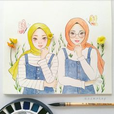 ideas drawing faces cartoon sketches animation for 2019 Anime Face Drawing, Hijab Drawing, Drawing Faces, Cartoon Kunst, Cartoon Art, Cartoon Faces, Girl Cartoon, Sketch Faces, Face Sketch