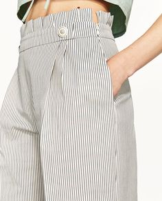 TROUSERS WITH PLEATED WAIST DETAIL-Culottes-TROUSERS-WOMAN | ZARA United Kingdom
