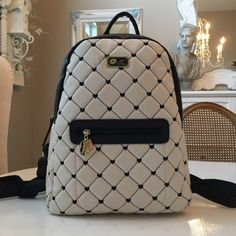"🎒HP🎒Betsey Quilted Heart Backpack Black and cream quilted backpack. Measures 14.5"" across and 17.5"" up&down, including depth with a fully adjustable strap. NWTChosen by Carrie @lovelylilac 4/22 Bags"