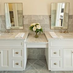 Double Sink Vanity with make up area | Austin Bathroom vanity Design Ideas, Pictures, Remodel and Decor.  Love the colors
