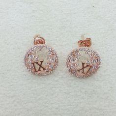 simple round white-cubic XI gold pink earing @https://www.gokoco.com/gkc/fashion-jewelry/earrings/simple-round-white-cubic-xi-gold-pink-earing.html #FashionEarrings #Whitegoldsimpleearrings #gokoco