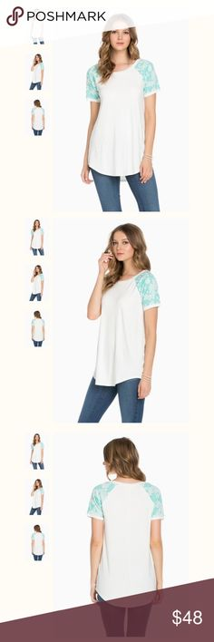 "MINT FLORAL SLEEVE TOP Small Bust: 17"" x Length 27"" Medium Bust: 19"" x Length 28"" Large Bust: 20"" x Length 29""  CONTENT + CARE   - Shell: 95% Rayon 5% Spandex  - Cont: 52% Rayon 46% Polyester 2% Spandex   - Machine Wash Cold  - Made in USA. MINT FLORAL SLEEVE BLOUSE Tops"