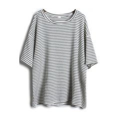 SheIn(sheinside) Grey Short Sleeve Striped Loose T-Shirt (€12) ❤ liked on Polyvore featuring tops, t-shirts, shirts, sheinside, grey, loose t shirt, summer shirts, cotton shirts, striped sleeve shirt e short sleeve tops