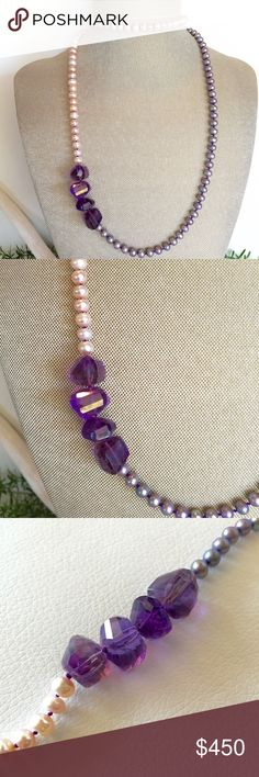 """NWT PEACH & GREY PEARL & AMETHYST NECKLACE ON SILK NWT ALL AAA QUALITY STONES PEACH & GREY NATURAL PEARL & AMETHYST NECKLACE STRUNG ON PURPLE KNOTTED SILK. ROSE GOLD LEATHER TIE. 32"""" LADY DAISY Jewelry Necklaces"""