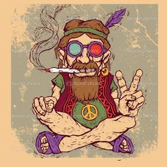 Old Marijuana Posters | Old hippie smokes marijuana and shows the peace symbol. color version ...