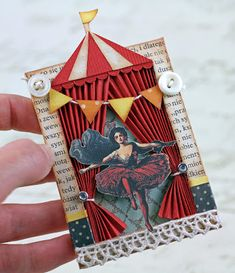 Under the Big Top ATC - use spare book pages and sew layers together. Possible idea for centerpieces. Circus Art, Circus Theme, Atc Cards, Card Tags, Ideas Collage, 3d Collage, Arte Punch, Kirigami, Paper Art