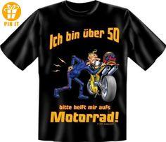 Rahmenlos® T-Shirt - Bin über 50, bitte helft mir aufs Motorrad! - Geburtstag Funshirt Biker XXL - T-Shirts mit Spruch   Lustige und coole T-Shirts   Funny T-Shirts (*Partner-Link)