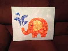 DIY Canvas Elephant Button Art