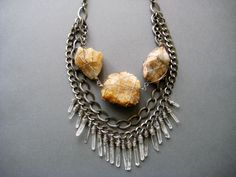 Earth Goddess no.2- Power Place Collection- Wire Wrapped Natural Quartz and Chain Tribal Bib- Raw Quartz Point Fringe Statement Necklace. $88.00, via Etsy.