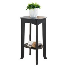 Pilaster Designs - Espresso Finish Wood Plant Stand Accent Side End Table *** Details can be found by clicking on the image.