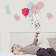 Kids' room decor: Balloon rabbit wall decals by Shinzi Katoh.