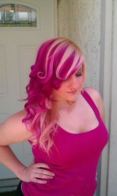 Pink with bleached blonde on top...the curls are a great touch!