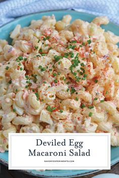 Deviled Egg Macaroni Salad is a cold macaroni salad using deviled egg filling, pasta and finely minced vegetables. The perfect make ahead side dish for parties and potlucks! for parties Cold Side Dishes, Party Side Dishes, Side Dishes Easy, Vegetable Side Dishes, Side Dish Recipes, Easy Potluck Side Dishes, Camping Side Dishes, Summer Side Dishes, Vegetable Salad