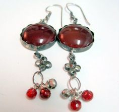 Silver Filigree earings with  red agate handmade and by Viyoli, $90.00