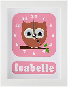 Stripey Cats Personalised Osbert Owl Framed Clock, 23 x 18cm