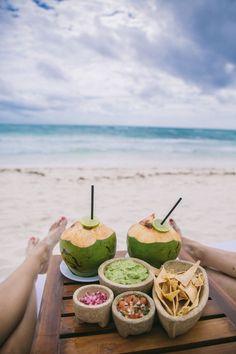 Guacamole on the beach in Mexico