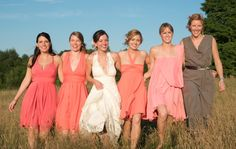 Love these tonal bridesmaids gowns for a gold/pink/copper wedding!!!