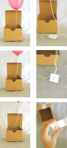 AWESOME IDEA! One of these days, I'd like to try out this adorable mini balloon-in-a-box invitation. They remind me of the balloon save-the-dates, but are possibly even cooler.