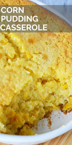 Easy Corn Casserole This corn pudding casserole is made with Jiffy mix for a simple, easy recipe. It is moist, sweet, creamy and the perfect side dish for your next meal. Baked Creamed Corn Casserole, Corn Pudding Casserole, Easy Corn Pudding, Creamy Corn Casserole, Cornbread Pudding, Corn Pudding Recipes, Sweet Cornbread, Easy Casserole Recipes, Breakfast Casserole