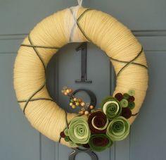 Yarn Wreath Felt Handmade Door