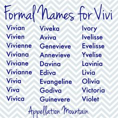 Love Vivi, but looking for a formal name? This list is for you! Pretty Names, Cute Baby Names, Baby Girl Names, Boy Names, Writing Lists, Writing Promps, English Writing, Writing Practice, Writing Ideas