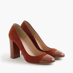 Lena suede pumps with patent cap toe