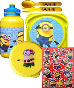 Despicable Me Minions Movie 5 Piece Lunch Set Includes Minion Pull-top Water Bottle Minion Sandwich @ niftywarehouse.com #NiftyWarehouse #Nerd #Geek #Entertainment #TV #Products