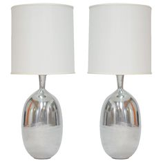 Pair of Monumental Aluminum Polished Table Lamps | From a unique collection of antique and modern table lamps at https://www.1stdibs.com/furniture/lighting/table-lamps/